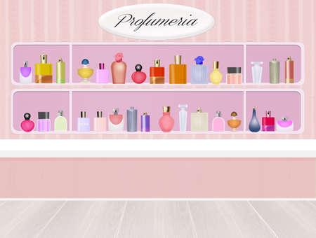 eau de perfume: illustration of perfumery