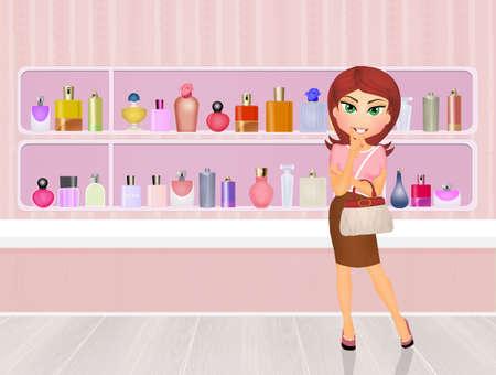 perfumery: girl in the perfumery Stock Photo