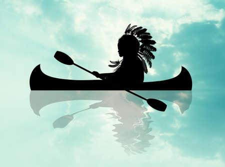 Indian on canoe Stok Fotoğraf