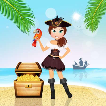 pirate girl: pirate girl with treasure