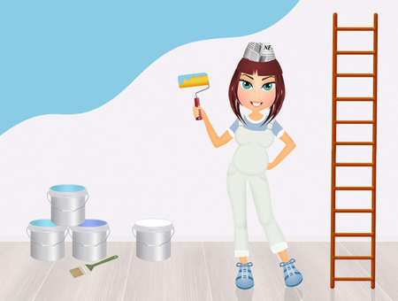 woman male: woman painting the bedroom blue for the male