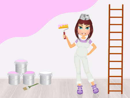 woman painting the bedroom pink for the female Stock Photo