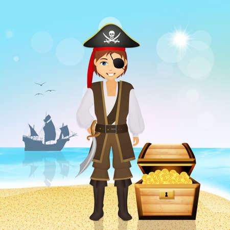 skeleton costume: pirate man with treasure on the island