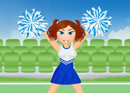 pom poms: cheerleader with pom poms