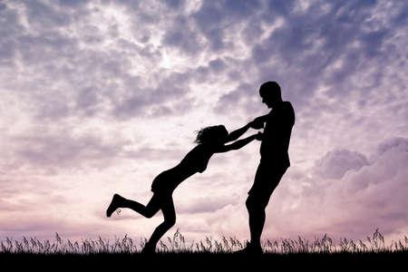 joyful couple at sunset