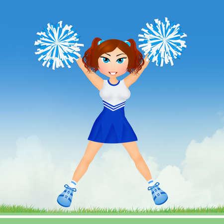 pom: cheerleader with pom poms