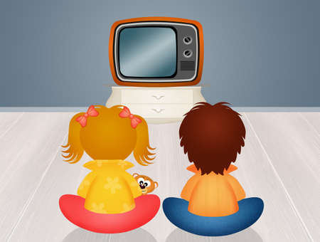 children in front the television