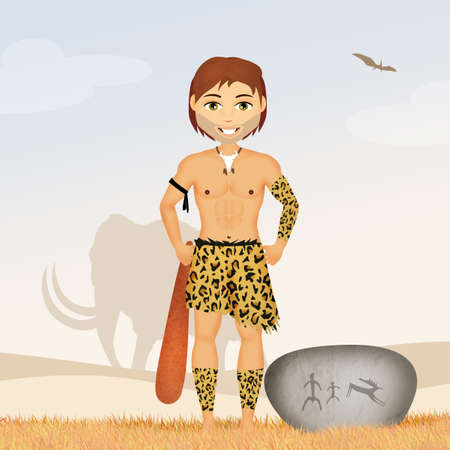 clave: primitive caveman Stock Photo