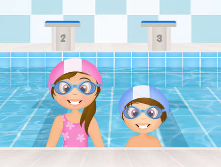 swimming cap: swimming lessons for children