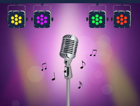 microphone and lights on stage Stock Photo