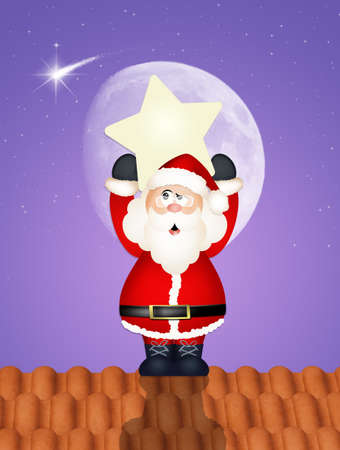 Santa Claus with star on roof Stock Photo