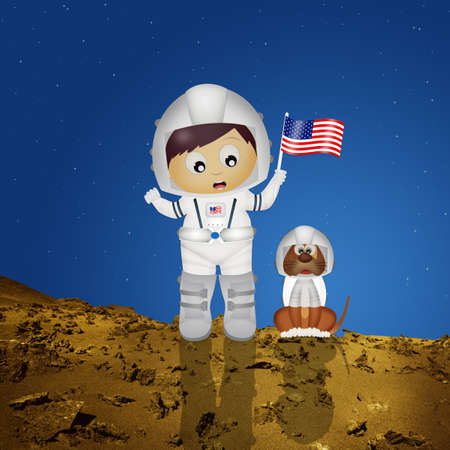 baby astronaut with puppy to Mars