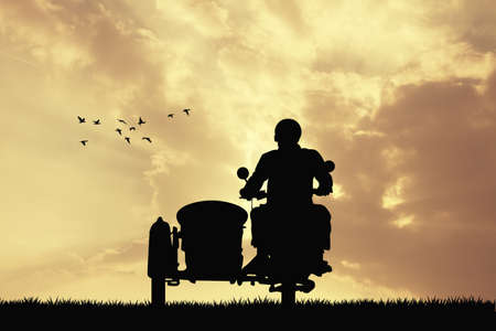 sidecar: man on sidecar at sunset