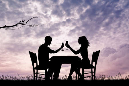 happy couple: romantic dinner for two
