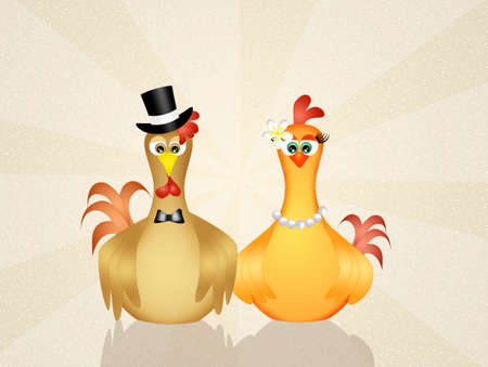 rooster and hen in love Stock Photo