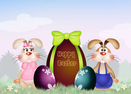 chocolate egg: Easter rabbits family