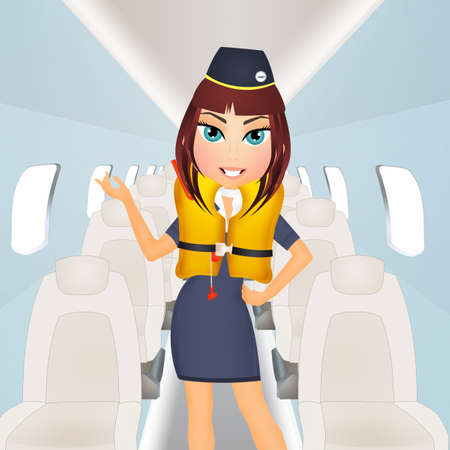 hostess with life jacket on airplane