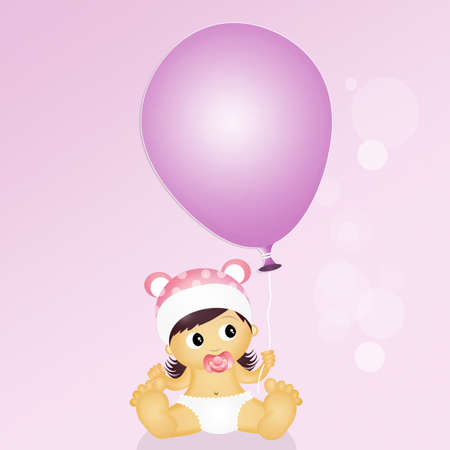 cute baby girls: child with balloon Stock Photo