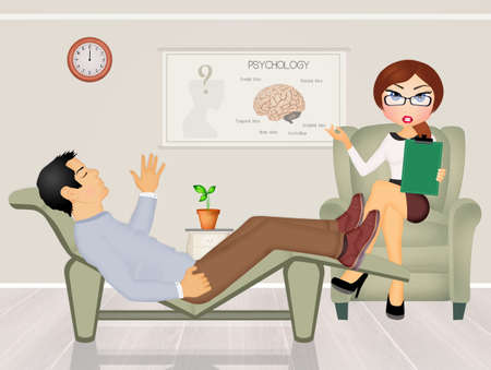 talking: patient talking to psychologist Stock Photo