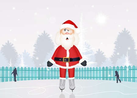 Santa Claus skating on ice