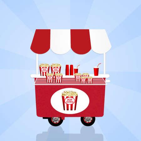 pop corn: pop corn cart Stock Photo