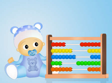 baby with abacus