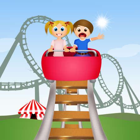 coaster: children on roller coaster