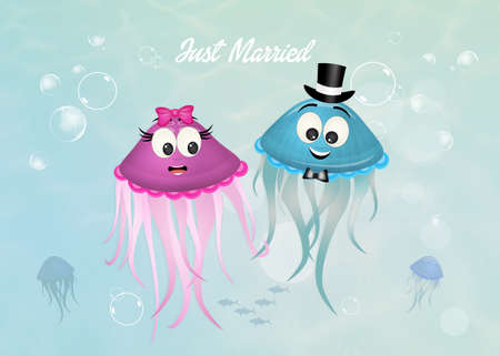 marriage of jellyfish Stock Photo