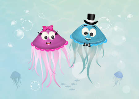 couple of funny jellyfish