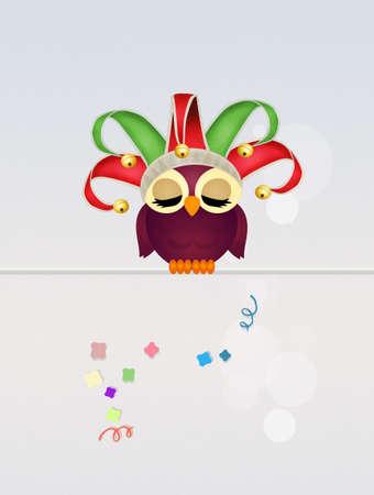 minstrel: owl minstrel at Carnival Stock Photo
