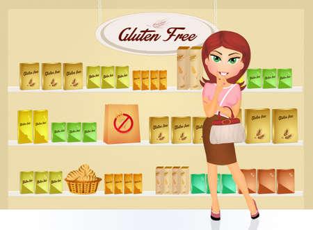 mujer en el supermercado: Mujer en la tienda sin gluten