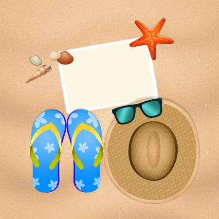 illustration of summer objects on sand Stock Photo