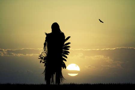 네이티브 아메리칸 인디언 일몰 스톡 콘텐츠 - 70644583