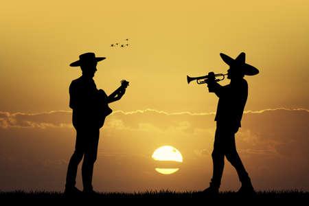 Mariachi band at sunset