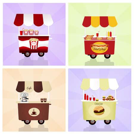 food: various food cart Stock Photo