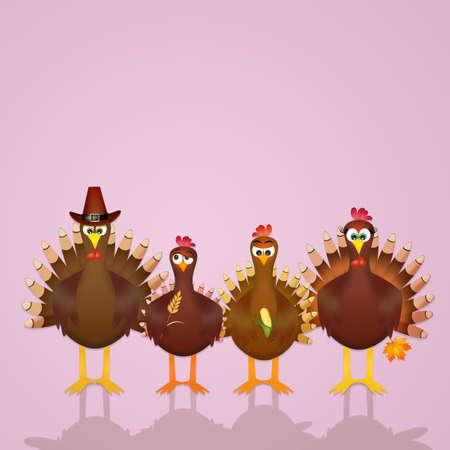 family of turkeys Stock Photo