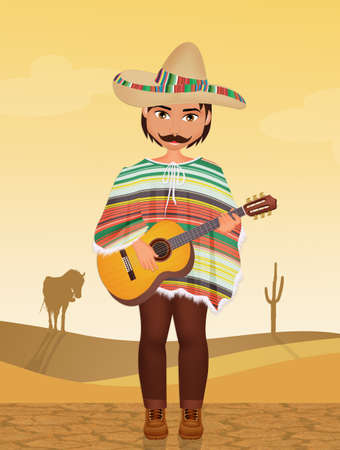 Mexican man with sombrero and guitar Stock Photo