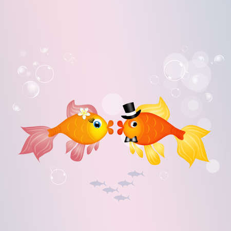 fishes: red fishes bride and groom