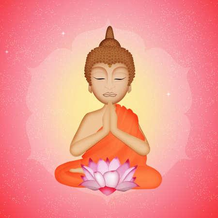 Buddha statue and lotus flower Stock Photo