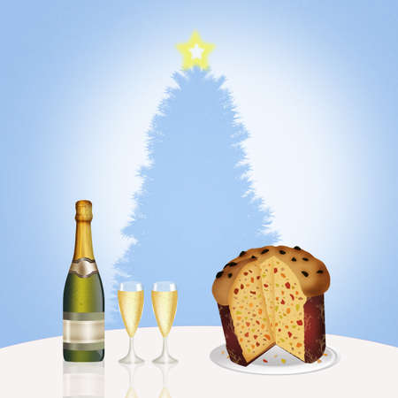 raisin: wine, glasses and Italian panettone Stock Photo