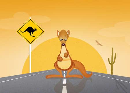 oasis: kangaroos crossing sign