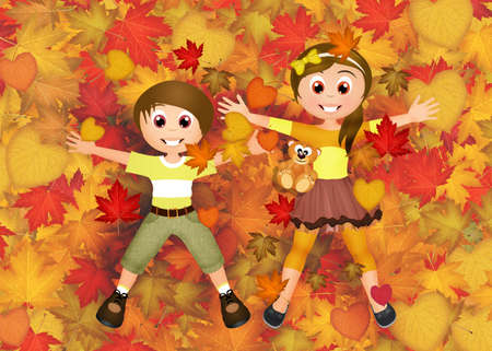 children in the leaves in autumn