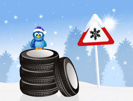 pneumatic tyres: snow tires in winter Stock Photo