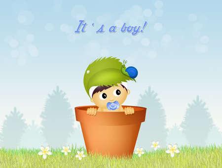 cute announcement of birth Stock Photo