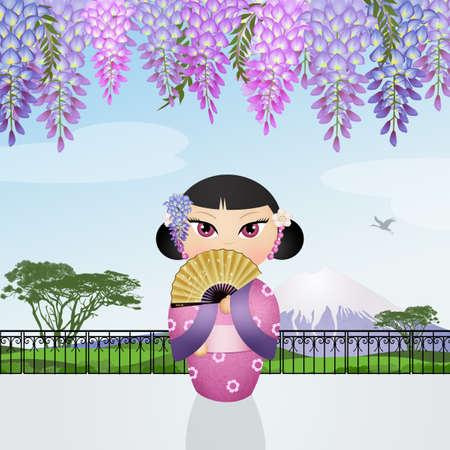 funny Geisha in Japan Stock Photo