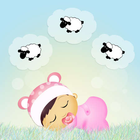 baby counting sheeps