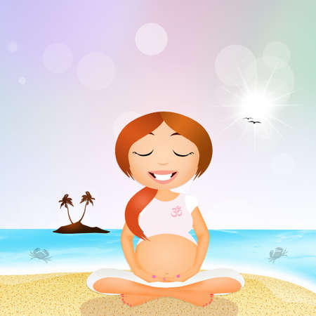 pregnancy exercise: a pregnant woman doing yoga on the beach