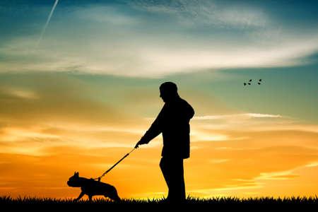 man leads walking the dog