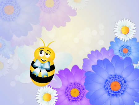 bee with blue ribbon