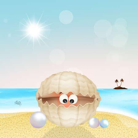 A shell cartoon character on the beach